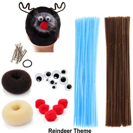 Spider Crafts For Halloween (Beaute Galleria - Bundle Creativity Hairstyle Chenille Stems Pipe Cleaners w Pom Pom Hair Donut Googly Eye Hair Pin for Art Crafts Halloween Christmas Spider Reindeer Bun Holiday)