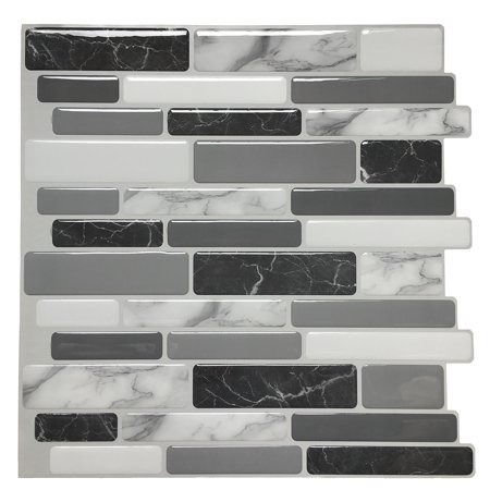 Art3d 6-Pack Marble Peel and Stick Backsplash Tiles 12