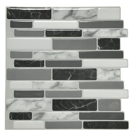 Art3d 6-Pack Marble Peel and Stick Backsplash Tiles 12\