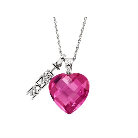 10 ct Created Pink Sapphire 'I Love Mom' Heart Charm Pendant Necklace with Diamond in Sterling Silver