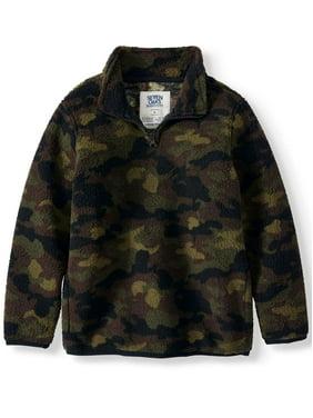 Seven Oaks Boys Printed Sherpa Quarter Zip Pullover Sweatshirt Sizes 4-18