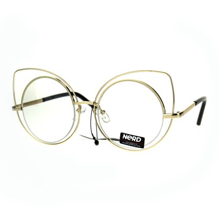 Nerd Gold Metal Round Circle Lens Cat Eye Clear Lens (Cat Eye Glasses Round Face)
