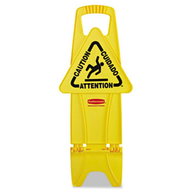Rubbermaid Commercial Prod. 9S0900YEL Stable Multi-Lingual Safety Sign, 13w x 13 1/4d x 26h, Yellow