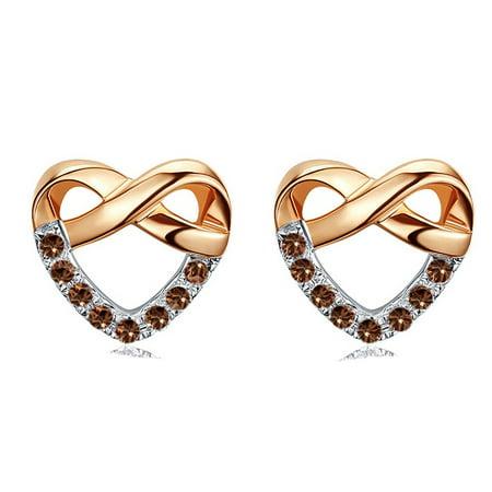 Infinity Heart .10 carat Round Brilliant Champagne Diamond Stud Earrings in 10k Rose Gold - image 1 de 2