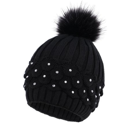 Ladies Cable Knit Beanie (Faux Fur Winter Cable Knit Pom Pom Beanie for Women w/ Sequins,)