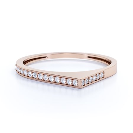 Channel Set Round Brilliant Real Diamond Dainty Stacking Ring in Solid 14k Rose Gold Set Brilliant Diamond