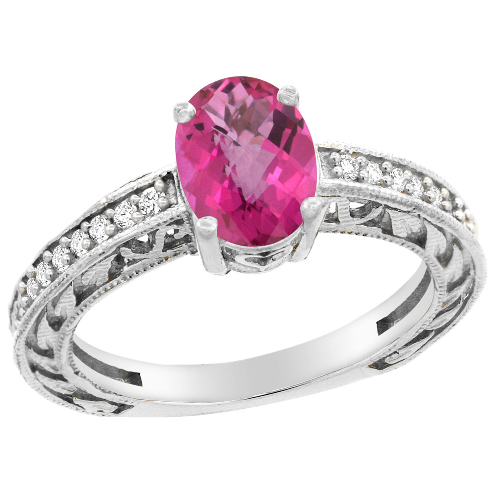 10K White Gold Natural Pink Sapphire Ring Oval 8x6 mm Diamond Accents, size 5 by Gabriella Gold