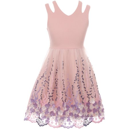 Little Girl Sleeveless 3D Flowers Embroidered Easter Summer Flower Girl Dress Blush 4 JKS 2115 BNY Corner