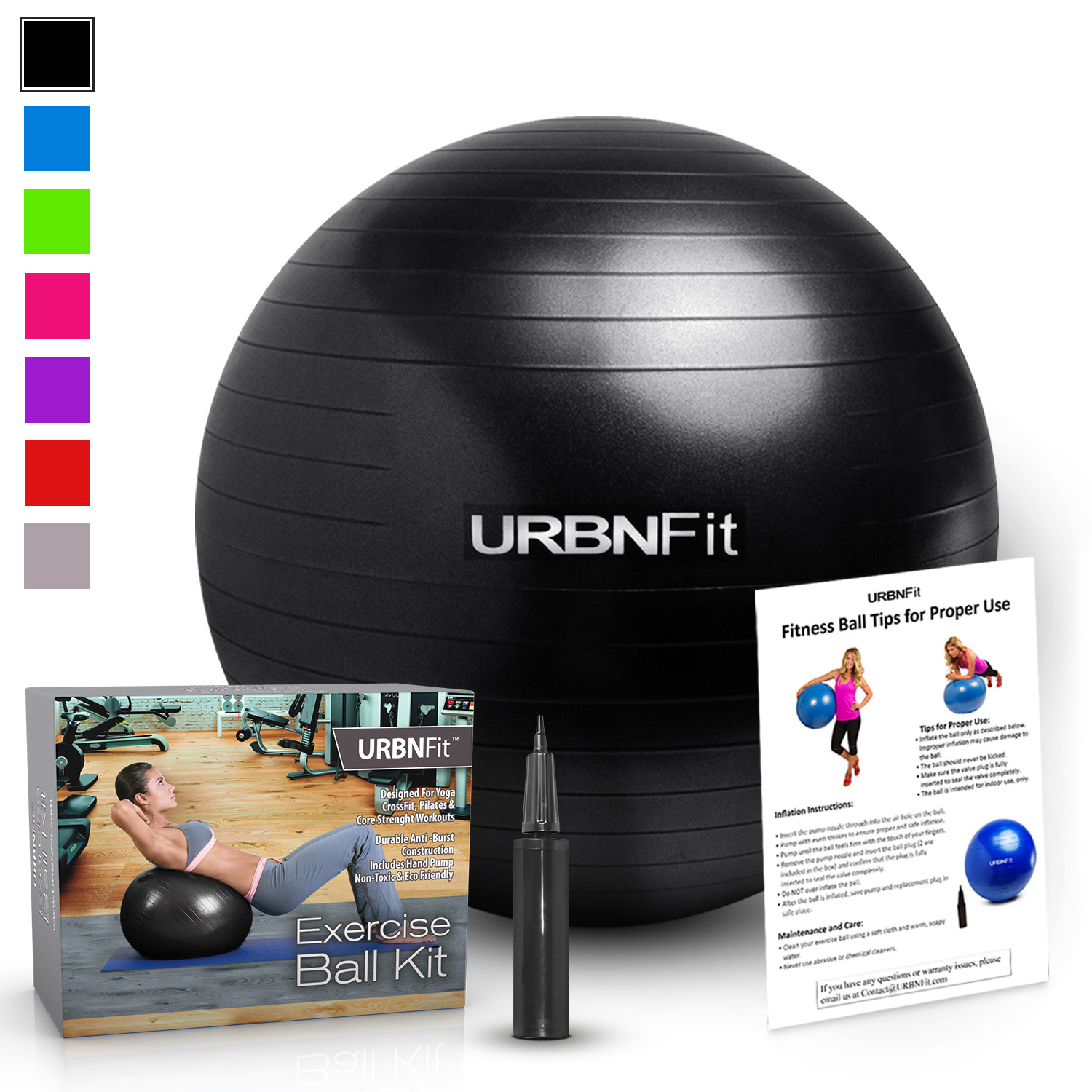 Exercise Balls For Fitness, Stability & Yoga - Workout Guide Included - 55CM / Black