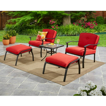 Mainstays Belden Park Outdoor 5 Piece Chat Set for Patio, Seats 2, Red