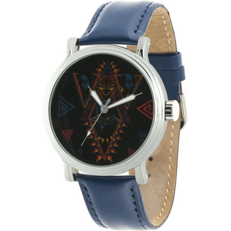 Black Panther MenSilver Alloy Vintage Watch, Blue Leather