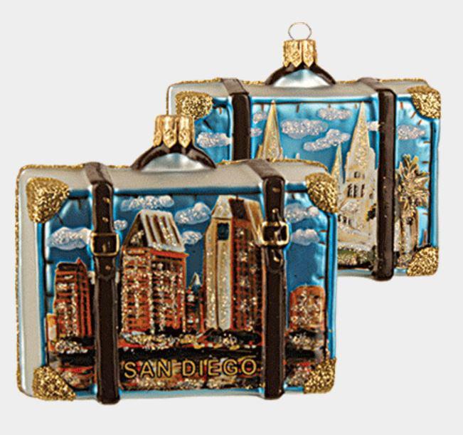 San Diego California Travel Suitcase Glass Christmas ...