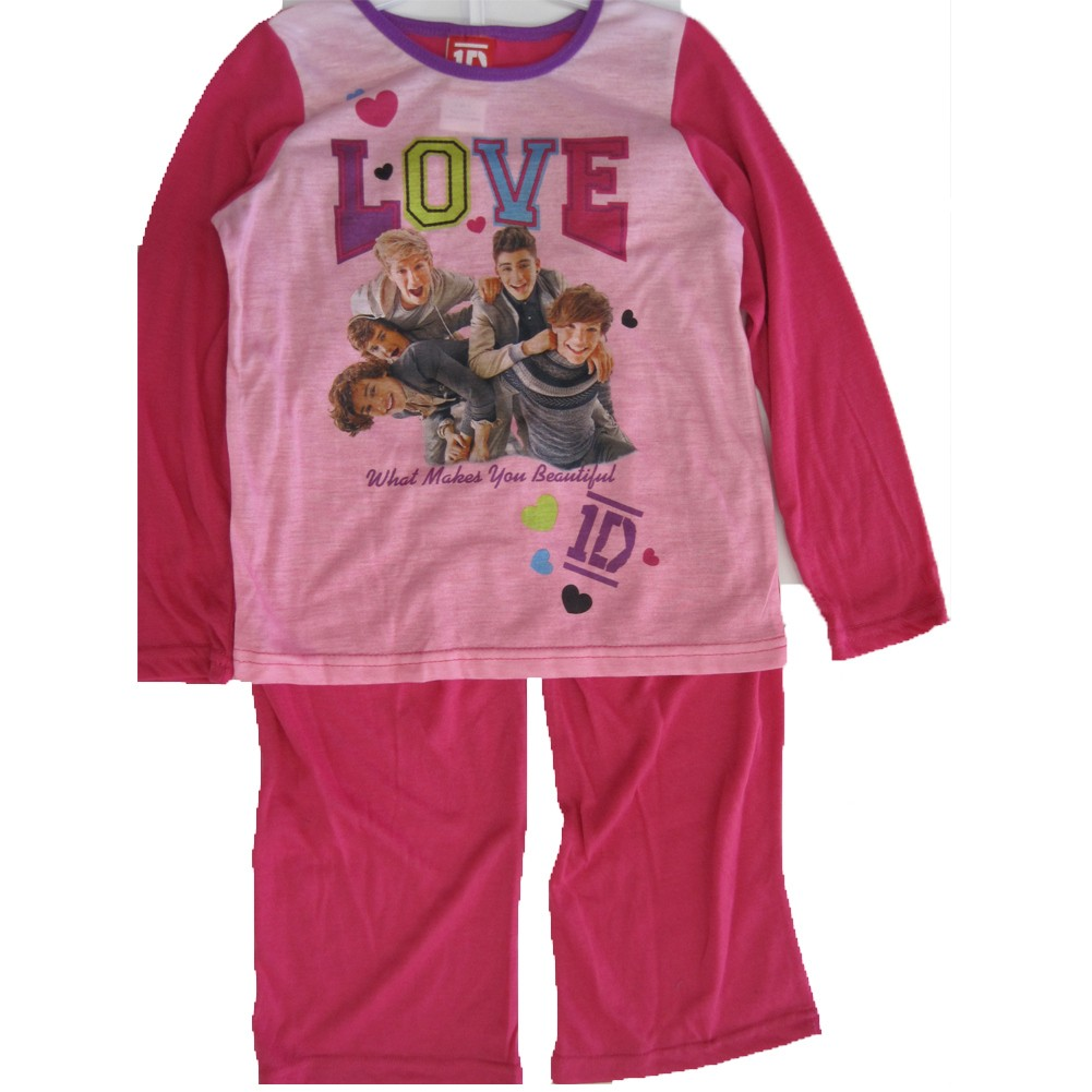 Image of 1D Girls Pink Fuchsia One Direction Band Print 2 Pc Pajama Set 8-10