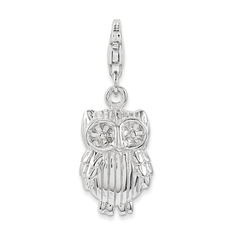 925 Sterling Silver Owl Pendant Charm Necklace Bird For Women