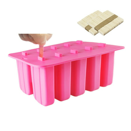 Frozen Clearance (10 Cells Ice Cream Popsicle Frozen Mold Silicone Ice Cream Lolly Pop Maker Mould Ice Tray with Cover Lid)