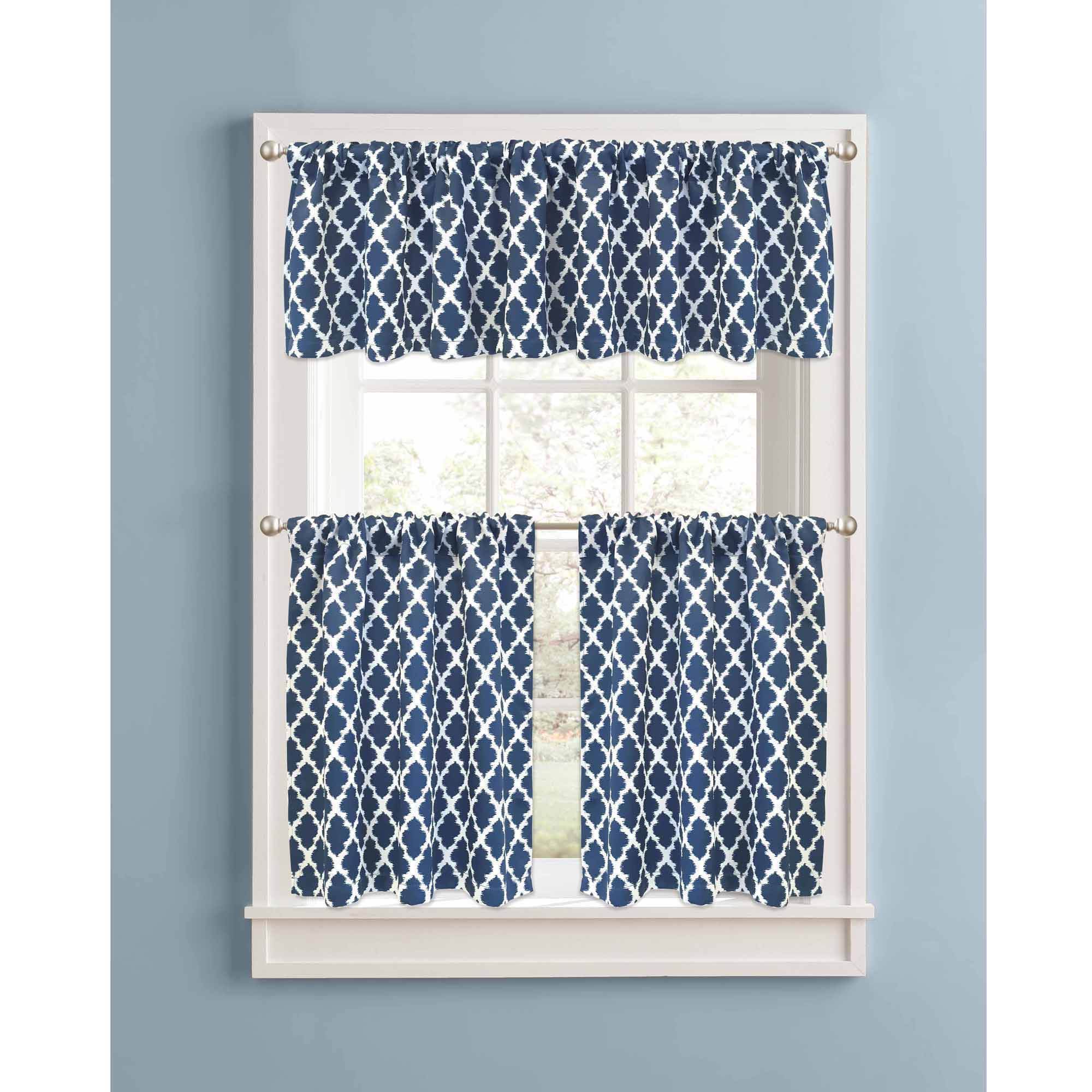 Better Homes And Gardens Indigo Tangier Kitchen Curtains, Set Of 2, Rod  Pocket