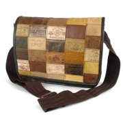 Global Crafts Handmade Small Upcycled Leather Label Messenger Bag (India)