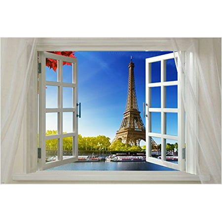 Scenic Poster Window Onto Paris 24X36 Eiffel Tower River Boats