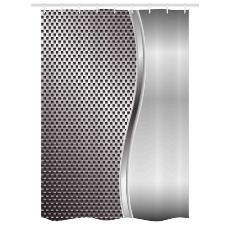Grey Stall Shower Curtain Metal Background With Square Shaped Grid Speaker Featured Industrial Iron Design