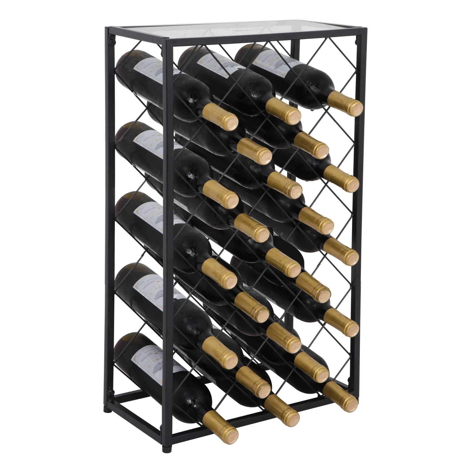 Zeny 23 Bottle Black Steel Wine Rack Table with Glass Top Free Standing Floor Wine Organizer Display Rack Wine Storage Shelves
