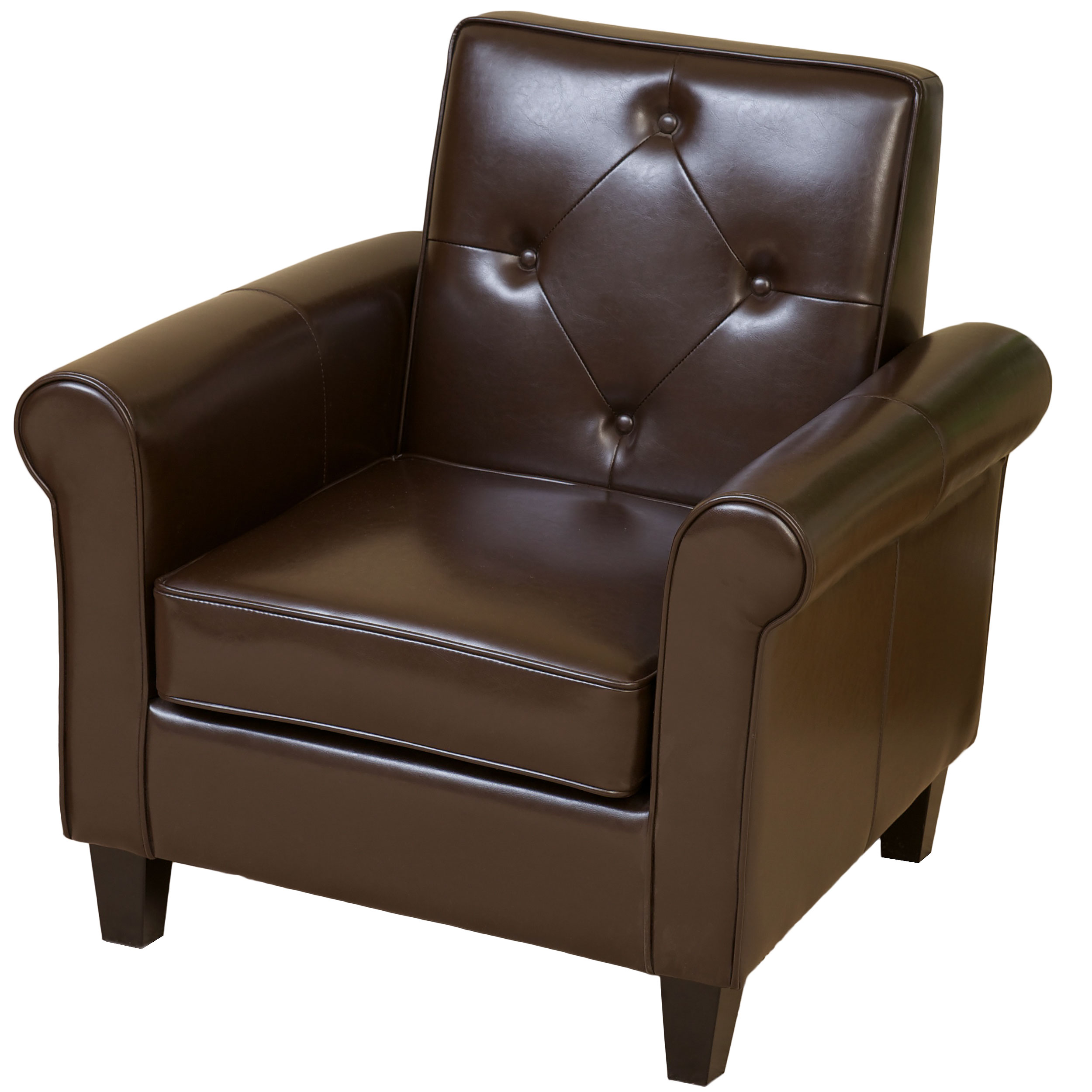 Oakly Tufted Brown Bonded Leather Club Chair