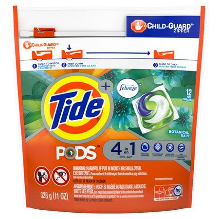 Tide PODS with Febreze, Liquid Laundry Detergent Pacs, Botanical Rain, 12 count