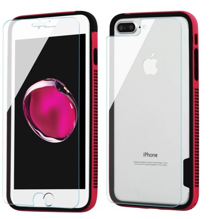 Surround Aluminum Bumper Shield (Surround Bumper Shield + Front and Back Tempered Glass Screen Protector for iPhone 8 Plus / 7 Plus - Hot Pink )
