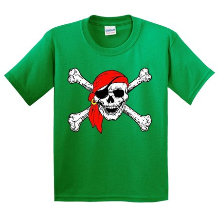 Pirate Clothing (New Way 794 - Youth T-Shirt Jolly Roger Skull Crossbones Pirates Large Kelly)