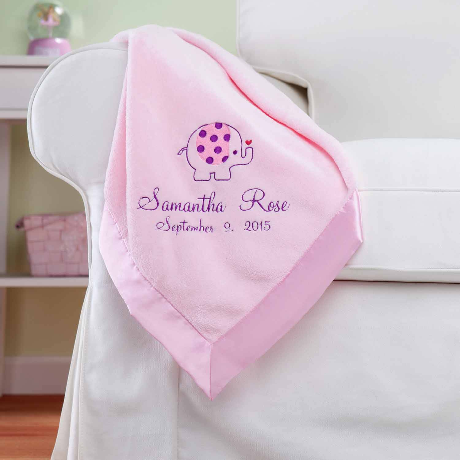 Personalized Sweet Elephant Pink Baby Blanket