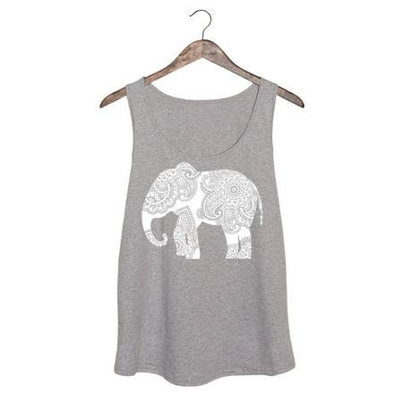 Harper Quinn White Henna Elephant Ladies Plus Size Tank Top