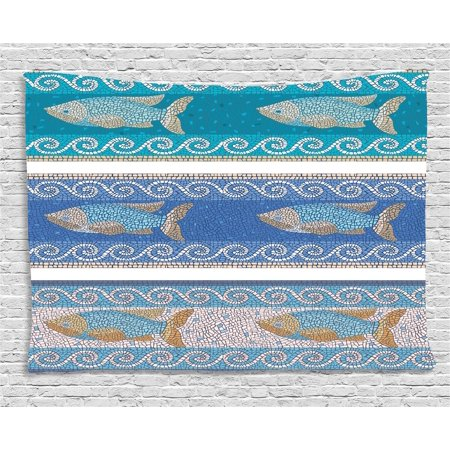 Mosaic Decor Tapestry, Ancient Style Byzantine Ceramics Inspired Marine Fractal Fish Pattern Artwork, Wall Hanging for Bedroom Living Room Dorm Decor, 80W X 60L Inches, Slate Blue, by Ambesonne