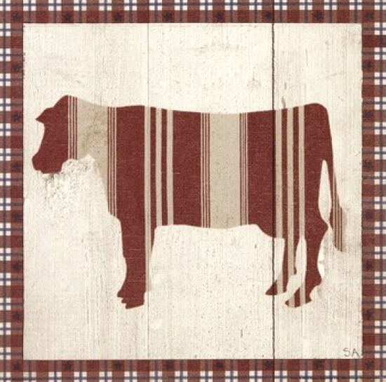 Americana Cow Poster Print by Sarah Adams (10 x 10)