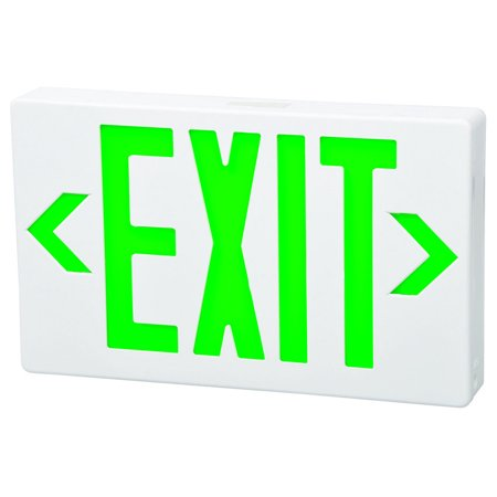 LED Exit Sign Green LED White Housing Battery Backup Remote Capable