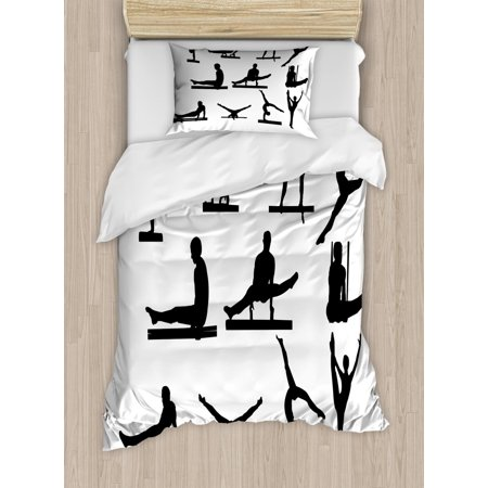 Gymnastics Duvet Cover Set Twin Size, Composition of Mens Pommel Horse Athlete Silhouettes with Various Poses, Decorative 2 Piece Bedding Set with 1 Pillow Sham, Black and White, by -