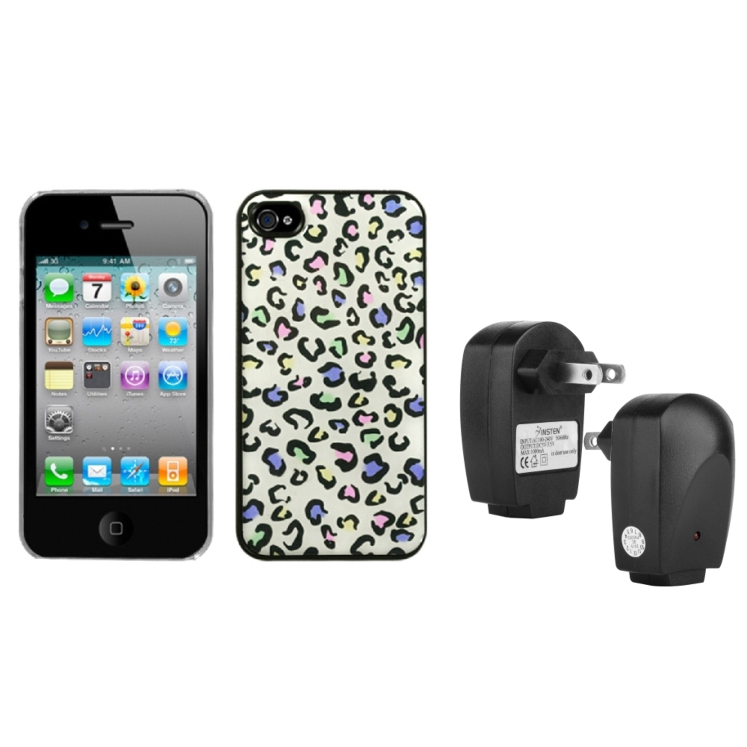 Insten Colorful Leopard Dream Back Case For iPhone 4 4S   USB Travel Charger