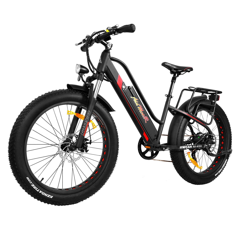 Addmotor MOTAN 500W Electric Bike Bicycle 26In Fat Tire Electric Bike Full Suspension M-450 Low Frame 2018 Snow E-bike