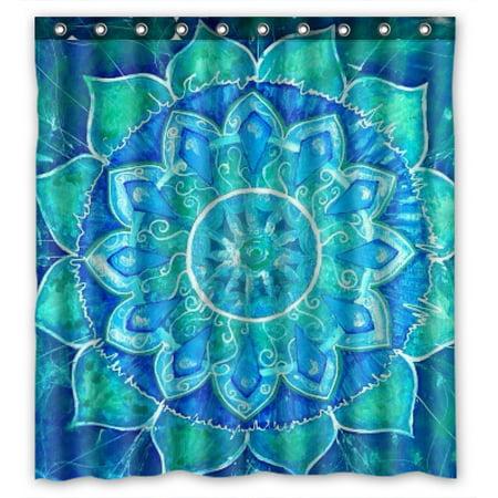 YKCG Ethinic Mandala Tribal Psychedelic Round Mandala Waterproof Fabric Bathroom Shower Curtain 66x72 inches ()
