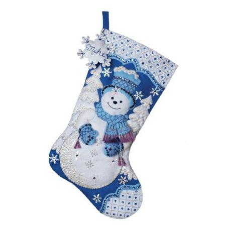 18-Inches Christmas Stocking Felt Appliqué Kit, 86059 Snowflake Snowman, Felt is prestamped By Bucilla - Snowman Kit