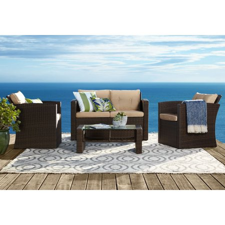 Teal Island Designs Carmel All-Weather Wicker 4-Piece Outdoor Seating Patio Set ()