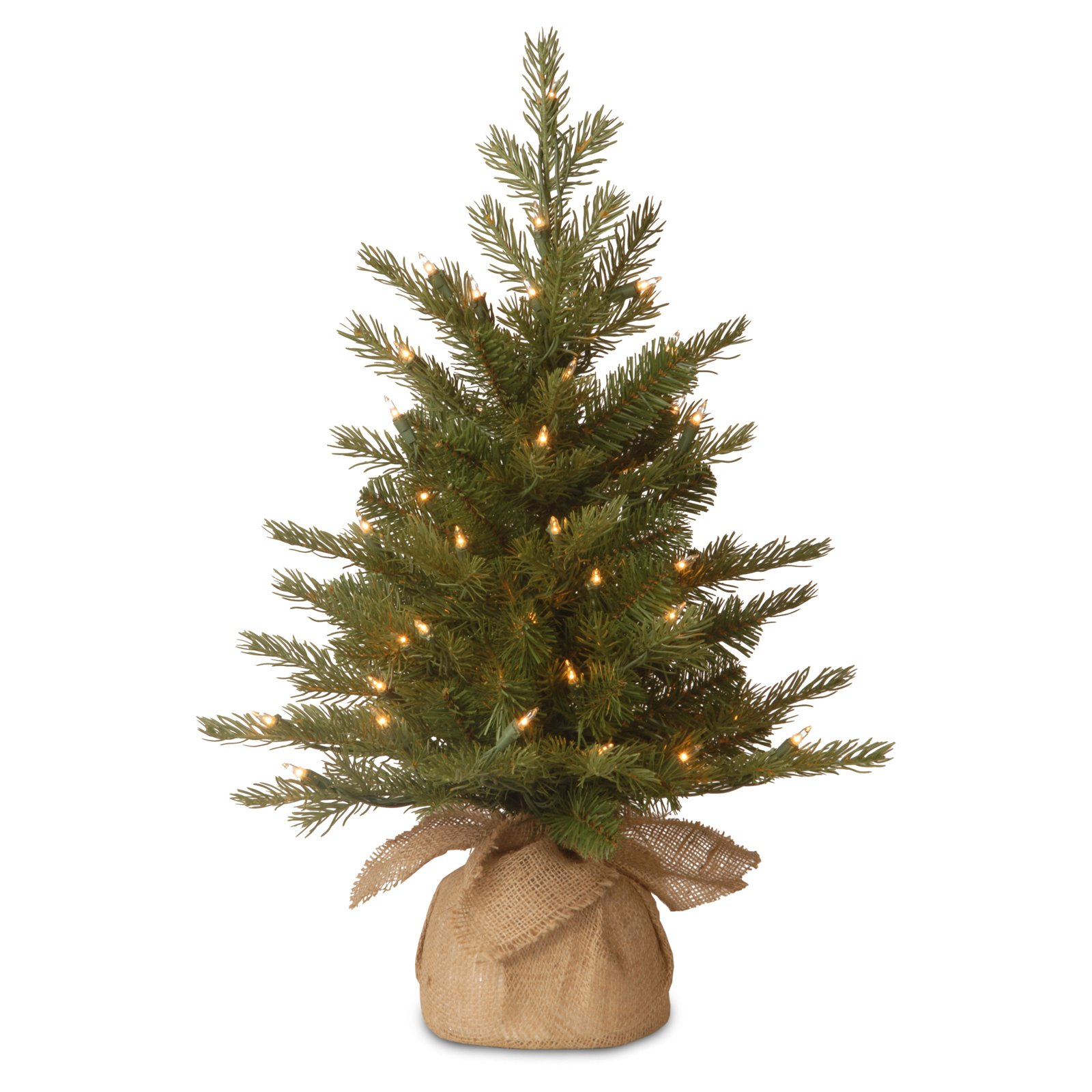 national tree pre lit 3 feel real nordic spruce small artificial christmas tree in burlap with 100 clear lights walmartcom