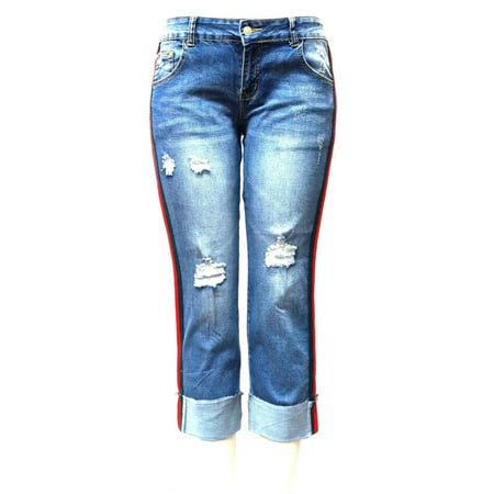 Sweet Look Trendy Womens Casual Distressed Denim Side Stripe Mom Denim Jeans