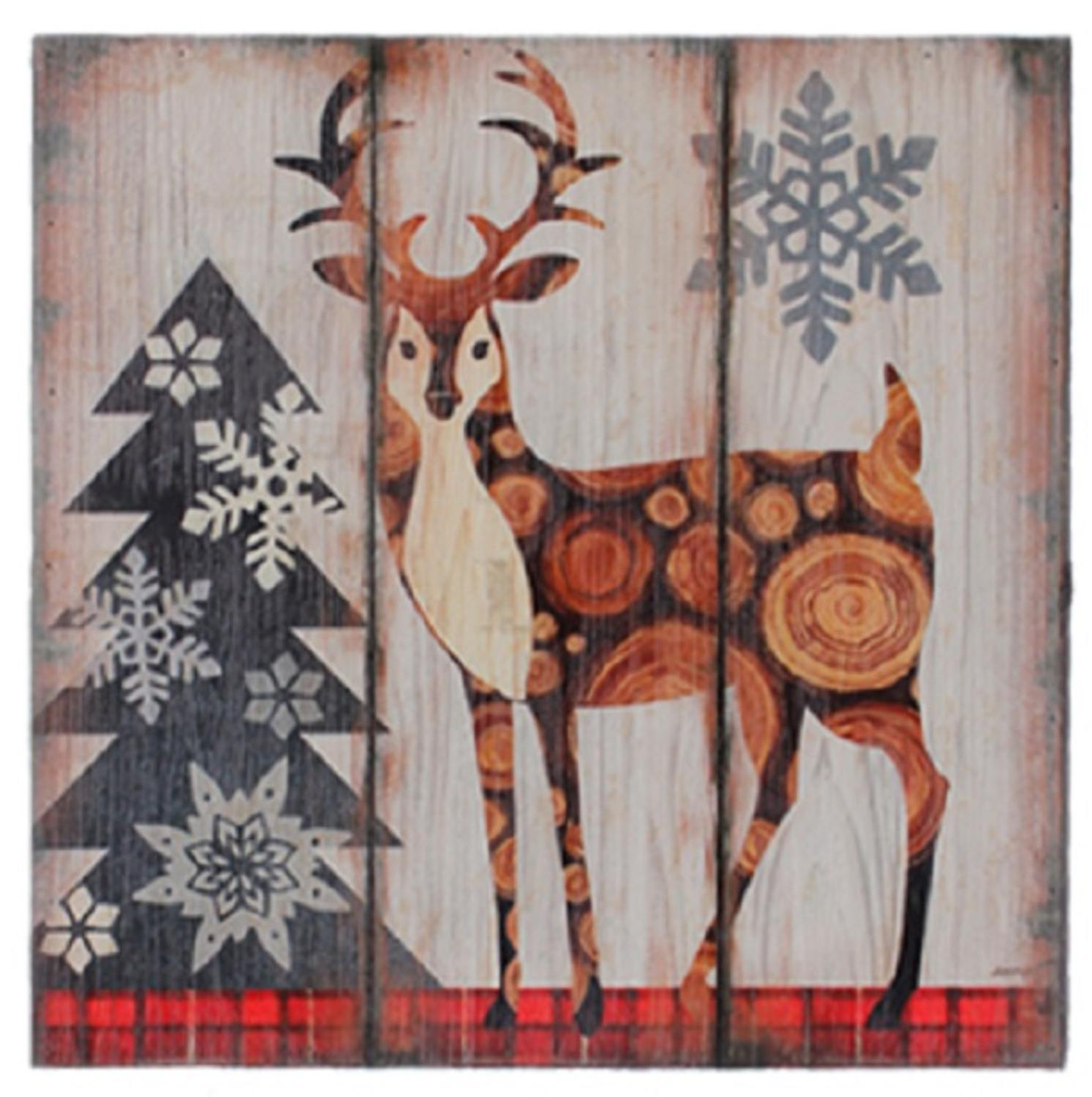 "Image of 13.75"" Alpine Chic Buck Standing in Woods with Snowflakes Wall Art Plaque"