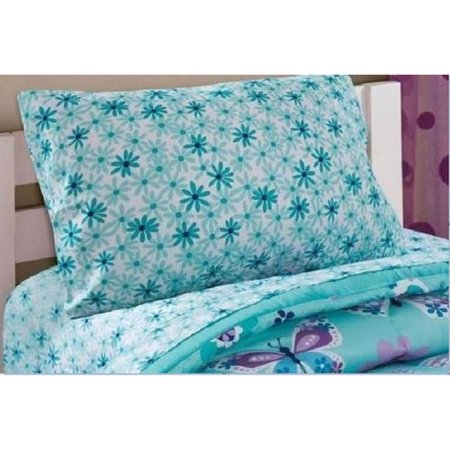 Mainstays Kids Aqua FLoral Coordinating Printed Sheet Set (Kids Full Sheet Set)