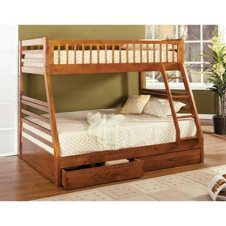 Furniture Of America Jordy Modern Slatted Panel Twin Twin Bunk Bed Dark Blue