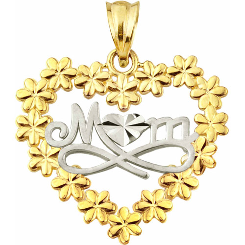 Handcrafted 10kt Gold Talking MOM with Flowers Charm Pendant