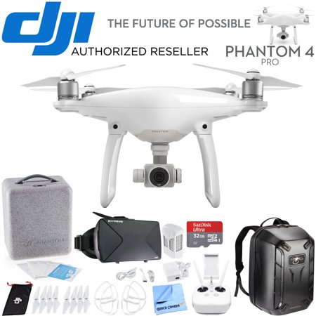 Remote Viewer - DJI Phantom 4 Pro Quadcopter Drone CP.PT.000488 Travel Bundle includes Drone, Hardshell Backpack, Intelligent Flight Battery, 4 Propeller Guards, 32GB MicroSD Memory Card and Virtual Reality Viewer