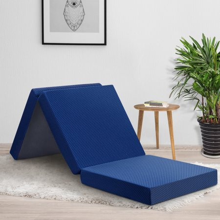 GranRest 4'' Tri Folding Memory Foam Mattress, Blue