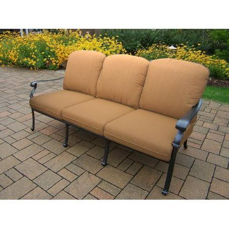 Hampton Deep Seat Sofa with Beige Spunpoly Cushions in Antique Black-Bronze Sunbrella Cushions