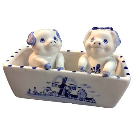 Delft Blue Style Pig Salt and Pepper Shakers D413, Female and Male cute pig salt and pepper shaker with a porcelain trough By None Cute Salt And Pepper Shakers