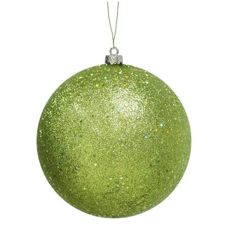 Green kiwi holographic glitter shatterproof christmas ball for Decoration kiwi